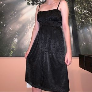 Silky Black Patterned Dress